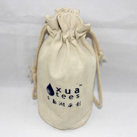 Reusable promotional cotton/canvas drawstring bag with custom print/logo, #04-048