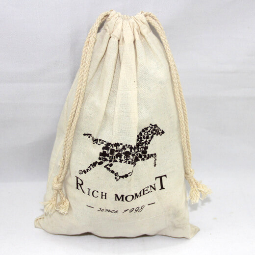 Reusable promotional cotton/canvas drawstring bag with custom print/logo, rich moment, #04-048