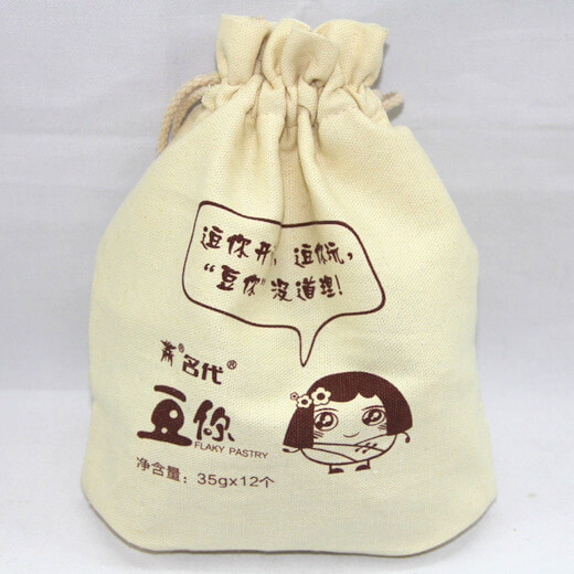 Reusable promotional cotton/canvas drawstring bag with custom print/logo, , #04-052
