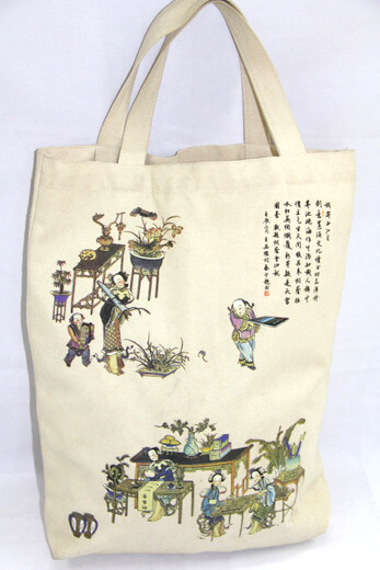 Reusable promotional cotton/canvas shopping totes with custom print/logo, China souvenir , #04-057