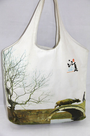 Reusable promotional cotton/canvas shopping totes with custom print/logo, travel souvenir , #04-062