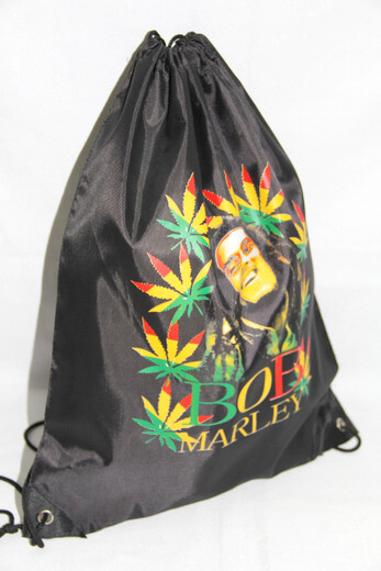 Promotional Polyester Fabrics Drawstring Bags/Backpack in China Yiwu, Bob Marley, #04-066
