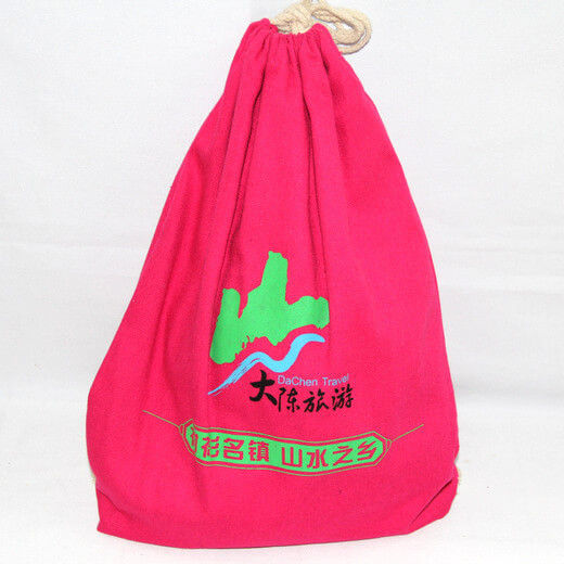 Reusable promotional cotton/canvas drawstring bag with custom print/logo, , #04-074