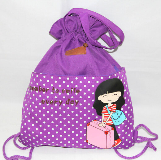 Promotional Polyester Fabrics Drawstring Bags/Backpack in China Yiwu ,cute girl, #04-102