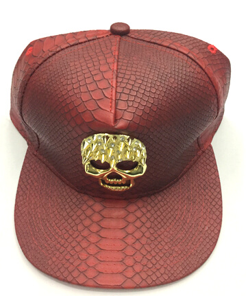 Pu Fashion Hats and Caps in Yiwu China, skull buckle, #0503-003