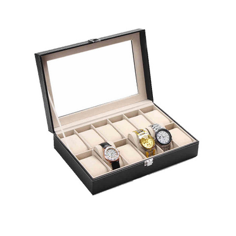 PU Leather Watch Display Box 12 slots (2)