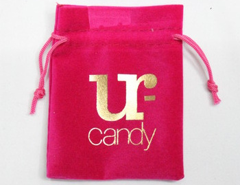Velvet fabric gift bag #1402-013 , with logo and printing