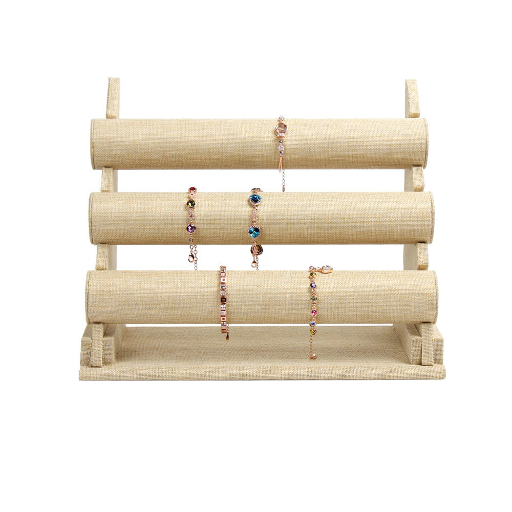 beige linen bracelet display