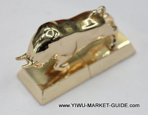 USB Drive #1701-016-2, Golden Bull