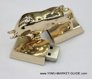 USB Drive #1701-016-3, Golden Bull