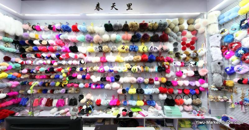 fluffy balls keyrings wholesale Yiwu market China