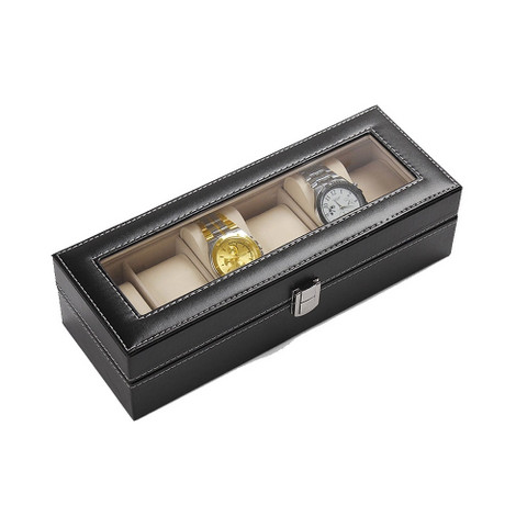 PU leather glass Watch Display Box 6 slots (1)
