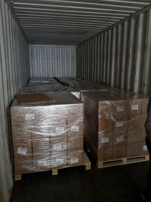 Container loaded with pallets of fully repacked,inspected wheels.