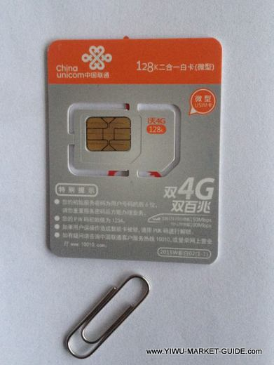 China SIM card in Yiwu, for Internet & Call