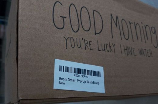 Amazon prduct label on box