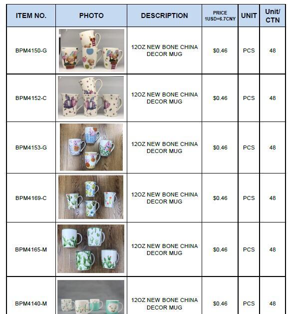 Bone China Ceramic Mug in Yiwu China