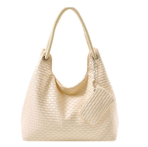 PU Crochet Shoulder bags apricot