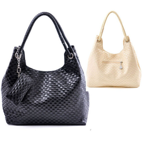 PU Crochet Knitted Hand / Shoulder Bags With Pouch Black White Rose Beige