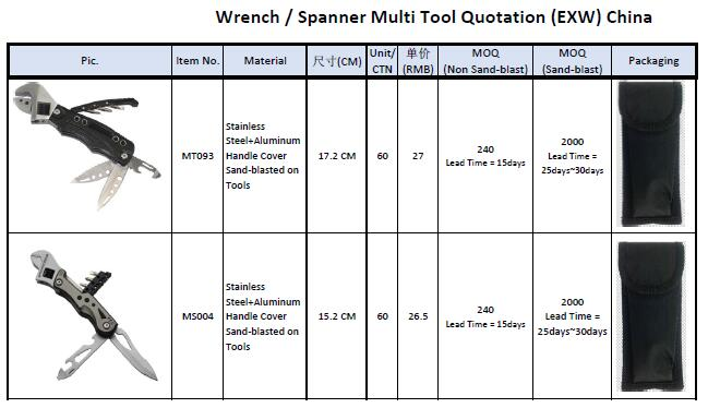 spanner/wrench multi tool price list