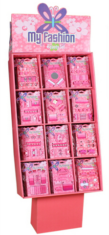 144 assorted hair accessory set packs, comes in one box with display.