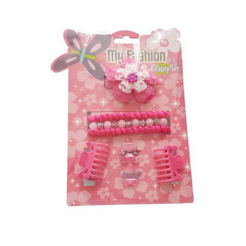 8 pcs girl hair accessories set: flower, band, comb, bear, cute