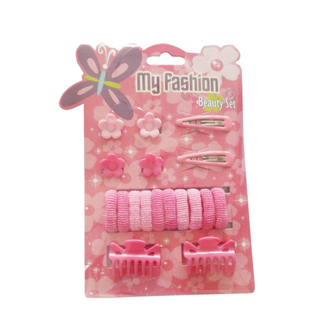 18 pcs girl hair accessories set: clip, band, comb, cute