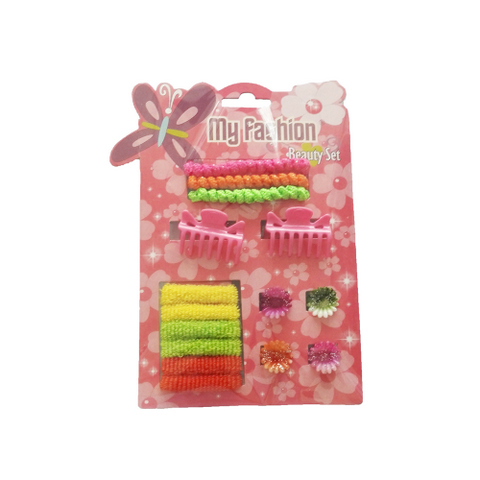 15 pcs girl hair accessories set: clip, band, comb, flower, cute