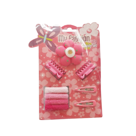 My Fashion Beauty Set - 9 pcs girl hair accessories set: clip, band, comb, flower, cute