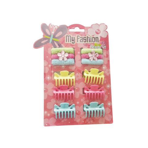 My Fashion Beauty Set - 12 pcs girl hair accessories set: clip, band, comb, flower, cute