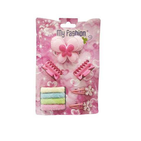 9pcs Set Girls Hair Accessories With Display Box, Pink