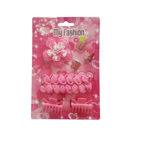 8pcs Set Girls Hair Accessories With Display Box, Pink