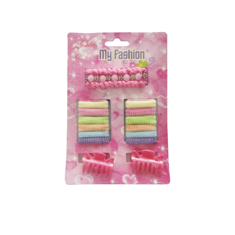 17pcs Set Girls Hair Accessories With Display Box, Pink