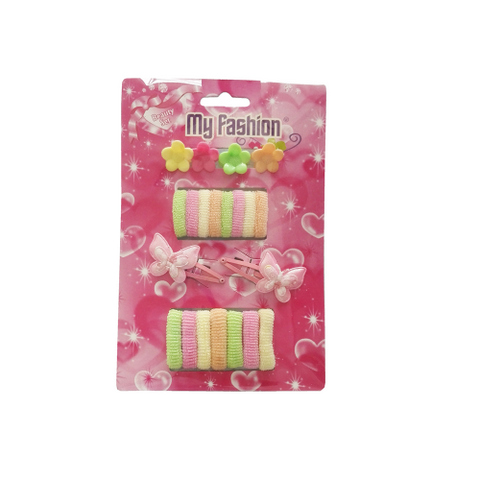 21pcs Set Girls Hair Accessories With Display Box, Pink. Flower, band, clip.