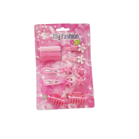 13pcs Set Girls Hair Accessories With Display Box, Pink. Flower, band, clip.Star