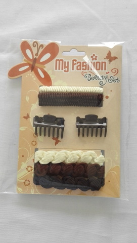 Hair Accessories Set With Display Box, Brown 2