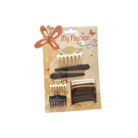 Hair Accessories Set With Display Box, Brown 6