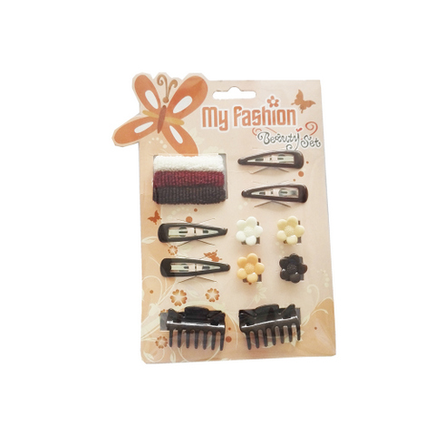 Hair Accessories Set With Display Box, Brown 11