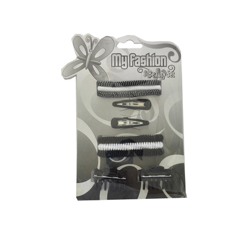 Hair Accessories Set With Display Box, Black & White 1