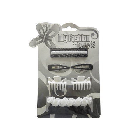 Hair Accessories Set With Display Box, Black & White 2