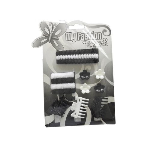 Hair Accessories Set With Display Box, Black & White 4
