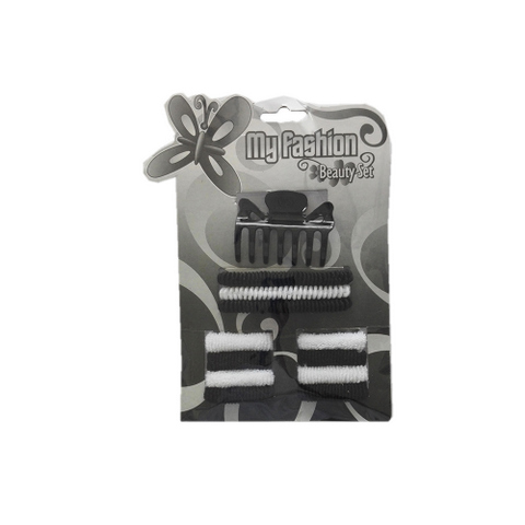 Hair Accessories Set With Display Box, Black & White 6