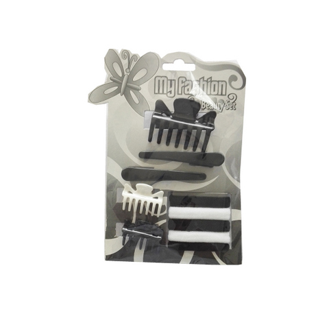 Hair Accessories Set With Display Box, Black & White 7