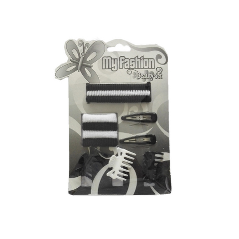 Hair Accessories Set With Display Box, Black & White 9