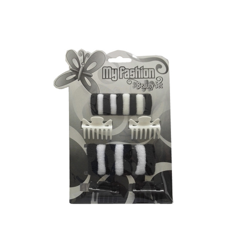Hair Accessories Set With Display Box, Black & White 10