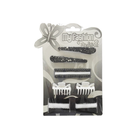 Hair Accessories Set With Display Box, Black & White 11