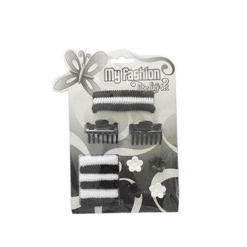 Hair Accessories Set With Display Box, Black & White 12