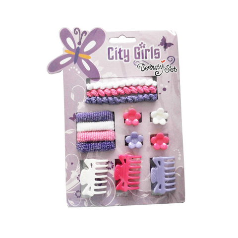 Hair Accessories Set With Display Box, Purple 2