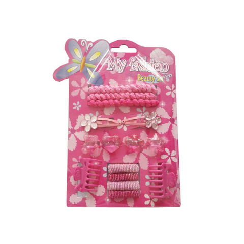 15pcs Kids Hair Accessories Set With Display Box, Pink