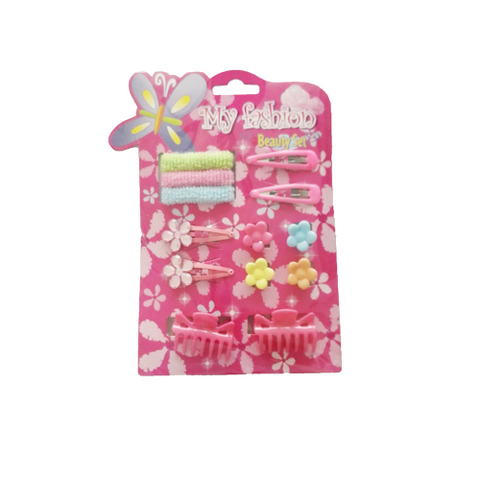 13pcs Kids Hair Accessories Set With Display Box,claw, pin, band, Pink