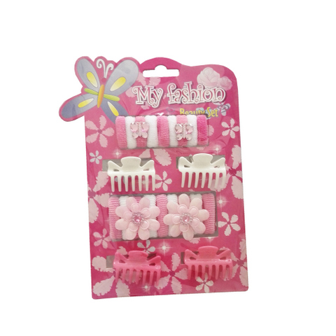 15pcs Kids Hair Accessories Set With Display Box,claw, pin, band, Pink